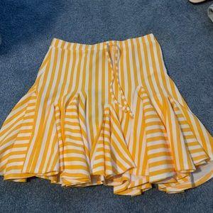 yellowish orange and white stripped mini skirt